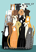 Kate, CUTE ANIMALS, LUSTIGE TIERE, ANIMALITOS DIVERTIDOS, paintings+++++Cat and dog party 2,GBKM57,#ac#, EVERYDAY ,cat,cats ,dogs,dog