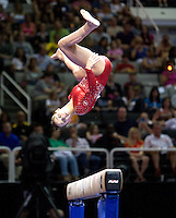 Sarah Finnegan of Gage competes on the beam during the 2012 US Olympic Trials competition at HP Pavilion in San Jose, California on June 29th, 2012.