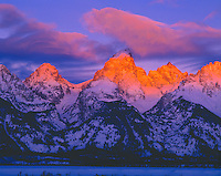 Teton Range in Winter, Grand Teton National Park, Wyoming   Grand Teton with first winter dawn light    Snake River Overlook