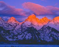 Teton Range in Winter, Grand Teton National Park, Wyoming   Grand Teton with first winter dawn light    Snake River Overlook