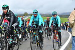 The peloton including World Champion Alejandro Valverde (ESP) Movistar Team during a wet miserable 105th edition of Li&egrave;ge-Bastogne-Li&egrave;ge 2019, La Doyenne, running 256km from Liege to Liege, Belgium. 28th April 2019<br /> Picture: Colin Flockton | Cyclefile<br /> All photos usage must carry mandatory copyright credit (&copy; Cyclefile | Colin Flockton)