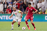 Ismaeil Matar Aljneibi of United Arab Emirates (L) fights for the ball with Akram Hassan Afif of Qatar (R) during the AFC Asian Cup UAE 2019 Semi Finals match between Qatar (QAT) and United Arab Emirates (UAE) at Mohammed Bin Zaied Stadium  on 29 January 2019 in Abu Dhabi, United Arab Emirates. Photo by Marcio Rodrigo Machado / Power Sport Images