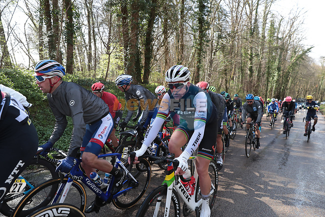 The peloton including World Champion Mads Pedersen (DEN) Trek-Segafredo in action during Stage 2 of the 78th edition of Paris-Nice 2020, running 166.5km form Chevreuse to Chalette-sur-Loing, France. 9th March 2020.<br /> Picture: ASO/Fabien Boukla | Cyclefile<br /> All photos usage must carry mandatory copyright credit (© Cyclefile | ASO/Fabien Boukla)