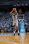 Brandon Childress (0) of the Wake Forest Demon Deacons attempts a three-point shot during first half action against the North Carolina Tar Heels at the Dean Smith Center on December 30, 2017 in Chapel Hill, North Carolina.  The Tar Heels defeated the Demon Deacons 73-69.  (Brian Westerholt/Sports On Film)