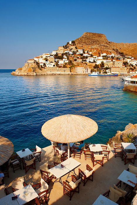 Cafe overlooking the port of Hydra, Greek Saronic Islands
