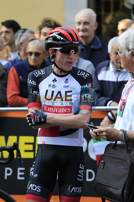 Dan Martin (IRL) UAE Team Emirates at sign on before the start of the 99th edition of Milan-Turin 2018, running 200km from Magenta Milan to Superga Basilica Turin, Italy. 10th October 2018.<br /> Picture: Eoin Clarke   Cyclefile<br /> <br /> <br /> All photos usage must carry mandatory copyright credit (© Cyclefile   Eoin Clarke)