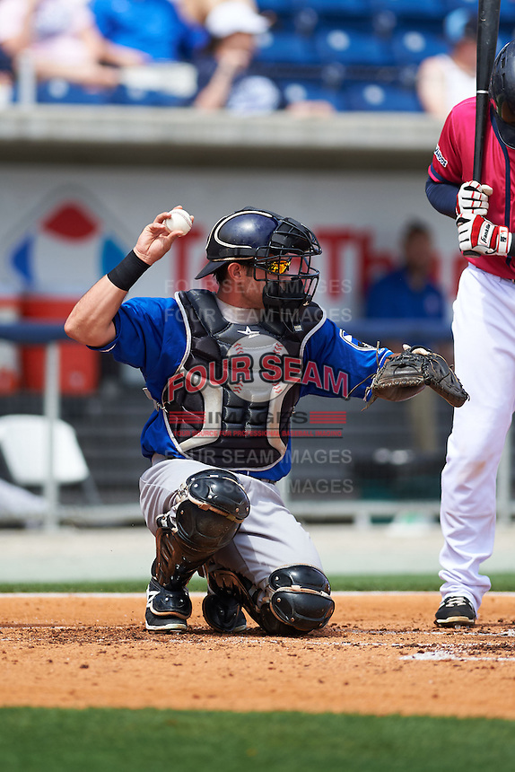 Biloxi Shuckers catcher Adam Weisenburger (8) during the first game of a double header against the Pensacola Blue Wahoos on April 26, 2015 at Pensacola Bayfront Stadium in Pensacola, Florida.  Biloxi defeated Pensacola 2-1.  (Mike Janes/Four Seam Images)
