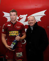 Kieran Murphy of Scarlets (left), Man of the Match, with Ieuan Evans (former Wales internantional and British Lions) after the first round match between Scarlets and Leicester Tigers at Parc y Scarlets (Photo by Rob Munro, Fotosports International)