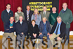 CUP: On Saturday night at the Community Centre Abbeydorney the Horgan Cup was launched and presented to the  Abbeydorney Coursing Club. Front l-r: John Cronin, Billy McCarthy, Sheila Horgan, Denis Brassil and Ger McCarthy. Back l-r: Padraig Conway, Anthony O'Connor, PJ Keane, Brid Keane, Tom Horgan, Brendan Halloran and Tom Kearney..............................   Copyright Kerry's Eye 2008