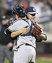 (F-B) Brian McCann, Masahiro Tanaka (Yankees),<br /> MAY 14, 2014 - MLB :<br /> Pitcher Masahiro Tanaka of the New York Yankees celebrates his sixth win with his first shutout in the MLB with catcher Brian McCann after the Major League Baseball game against the New York Mets at Citi Field in Flushing, New York, United States. (Photo by AFLO)