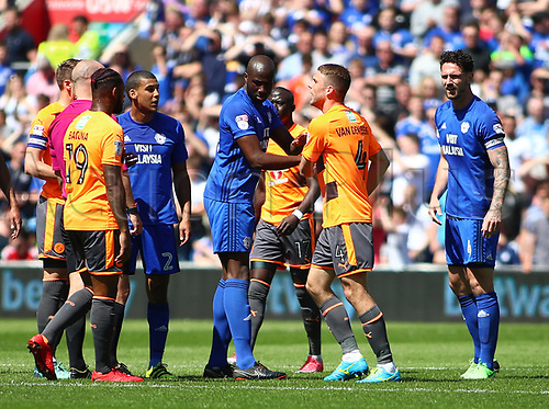 6th May 2018, Cardiff City Stadium, Cardiff, Wales; EFL Championship Football, Cardiff City versus Reading; Sol Bamba of Cardiff City holds back Joey van den Berg of Reading during an altercation in the 1st half