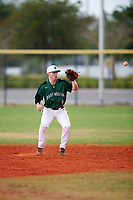 Dartmouth Big Green second baseman Sean Sullivan (4) fields a hopper during a game against the Southern Maine Huskies on March 23, 2017 at Lake Myrtle Park in Auburndale, Florida.  Dartmouth defeated Southern Maine 9-1.  (Mike Janes/Four Seam Images)