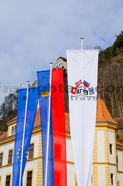 Flags, Flaggen, Fahnen, Eu, EFTA, Vaduz, Liechtenstein
