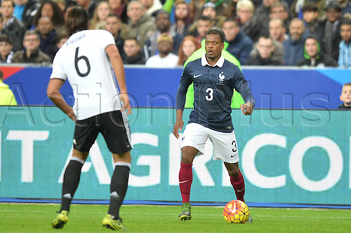 13.11.2015. Stade de France, Paris, France. International football friendly. France versus Germany.  PATRICE EVRA . The game was parially interupted as the paris terror attacks took place and bombs were heard going off outside the stadium.
