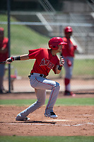 Los Angeles Angels shortstop Livan Soto (16) follows through on his swing during an Extended Spring Training game against the Giants Black at the San Francisco Giants Training Complex on May 25, 2018 in Scottsdale, Arizona. (Zachary Lucy/Four Seam Images)