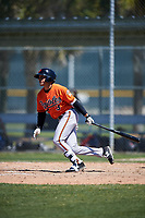 Baltimore Orioles Alexis Torres (3) follows through on a swing during a minor league Spring Training game against the Minnesota Twins on March 17, 2017 at the Buck O'Neil Baseball Complex in Sarasota, Florida.  (Mike Janes/Four Seam Images)