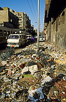 Rubbish dumped in city street. Alexandria. Egypt.
