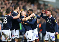 17th March 2019, The Den, London, England; The Emirates FA Cup, quarter final, Millwall versus Brighton and Hove Albion; Alex Pearce of Millwall celebrates with his team after scoring his sides 1st goal in the 70th minute to make it 1-0