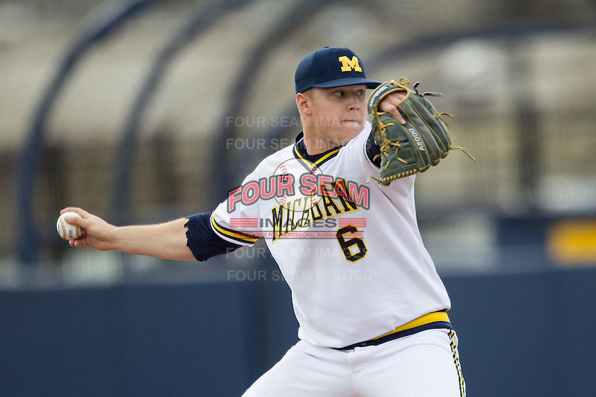 Michigan Wolverines pitcher Bryan Pall (6) delivers a pitch to the plate against the Toledo Rockets on April 20, 2016 at Ray Fisher Stadium in Ann Arbor, Michigan. Michigan defeated Bowling Green 2-1. (Andrew Woolley/Four Seam Images)