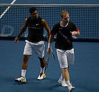 L Dlouhy (CZE) / L Paes (IND) against L Kubot (POL) / O Marach (AUT) in the Group B Doubles. L Kubot / O Marach  d L Dlouhy  / L Paes  63 76(3)..International Tennis - Barclays ATP World Tour Finals - O2 Arena - London - Day 2 - Mon 23 Nov 2009..© Frey - AMN IMAGES, Level 1 Barry House, 20-22 Worple Road, London, SW19 4DH - +44 20 8947 0100