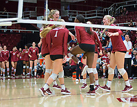 STANFORD, CA - November 3, 2018: Kate Formico, Tami Alade, Meghan McClure, Sidney Wilson, Kathryn Plummer, Kathryn Plummer at Maples Pavilion. No. 1 Stanford Cardinal defeated No. 15 Colorado Buffaloes 3-2.