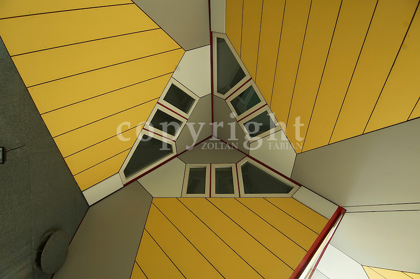 Detail of the cube houses. Designed by Piet Blom. Finished in 1984. Rotterdam, The Netherlands, Europe