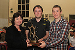 6th Year Head, Ms Agneta Murphy presents the Martin Keaveney Memorial Award to Darragh Coyle  and Eoin Fox at the School Awards Ceremony in St.Mary's School...(Photo credit should read Jenny Matthews www.newsfile.ie)....This Picture has been sent you under the conditions enclosed by:.Newsfile Ltd..The Studio,.Millmount Abbey,.Drogheda,.Co Meath..Ireland..Tel: +353(0)41-9871240.Fax: +353(0)41-9871260.GSM: +353(0)86-2500958.email: pictures@newsfile.ie.www.newsfile.ie.