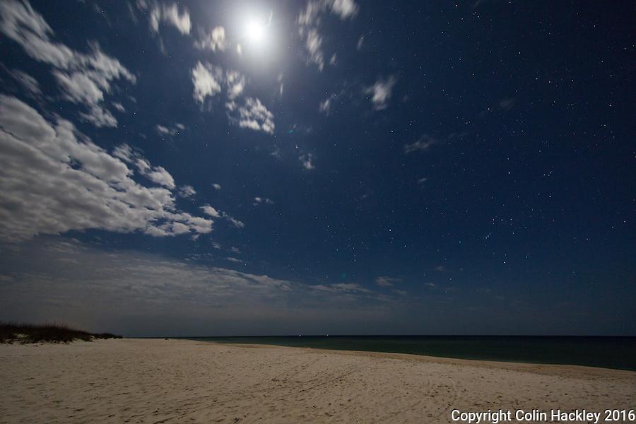 CAPE SAN BLAS, FLA. 4/16/16-A full moon shines on the beach T. H. Stone Memorial St. Joseph Peninsula State Park on Cape San Blas, Fla.<br /> <br /> COLIN HACKLEY PHOTO