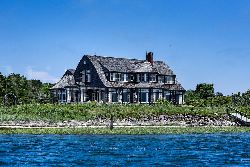 Private beach house along Oyster Pond River, Chatham, Cape Cod, Massachusetts, USA.