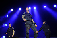 LONDON, ENGLAND - FEBRUARY 7: Ronan Keating, Keith Duffy and Mikey Graham of 'Boyzone' performing at the O2 Arena on February 7, 2019 as part of their 'Thank You &amp; Goodnight' Farewell Tour in London, England.<br /> CAP/MAR<br /> &copy;MAR/Capital Pictures