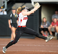 Sun Prairie pitcher, Maddie Gardner, winds up in the second inning. Pitchers for both teams pitch all nine innings.