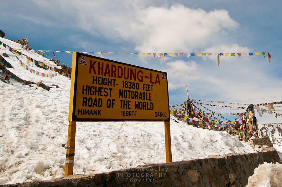 Khardung La at 18,380ft. the summit of the highest motorable road in the world.  Himalayan Mountains, Ladakh, India.