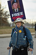 December 17, 2011  (Fort Meade, MD)  Protesters gathered outside the Fort Meade military installation in Maryland to show support for Bradley Manning.  Manning was at Ft. Meade for his Army Article 32 hearing for allegedly leaking classified intelligence information to the website WikiLeaks. (Photo by Don Baxter/Media Images International)