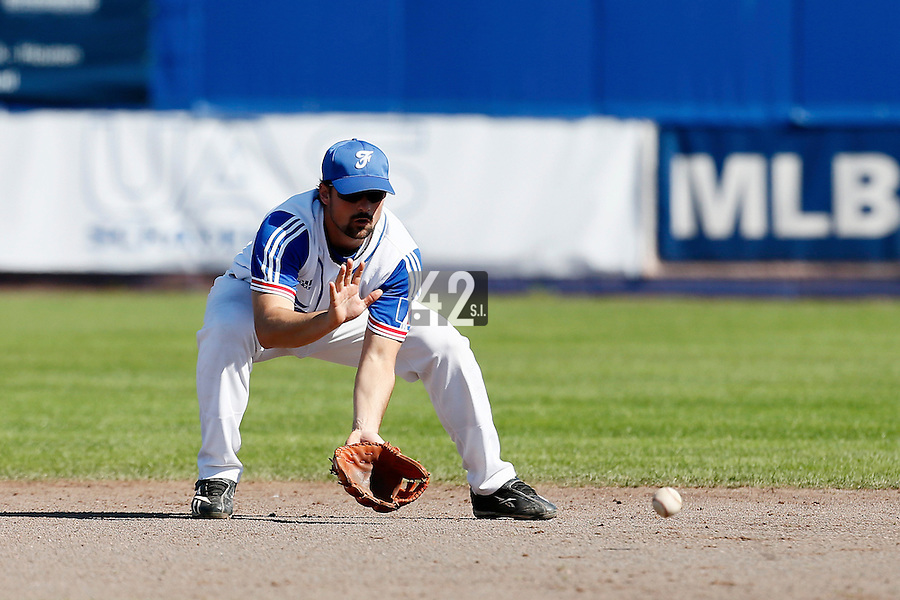 09 September 2012: France Florian Peyrichou warms up during the infield outfield practice prior to France 9-8 win in over Belgium, at the 2012 European Championship, in Utrecht, Netherlands.
