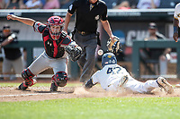 Michigan Wolverines designated hitter Jordan Nwogu (42) slides at home during Game 11 of the NCAA College World Series against the Texas Tech Red Raiders on June 21, 2019 at TD Ameritrade Park in Omaha, Nebraska. Michigan defeated Texas Tech 15-3 and is headed to the CWS Finals. (Andrew Woolley/Four Seam Images)