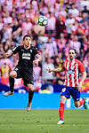 Fabian Orellana of SD Eibar (L) plays against Juanfran Torres of Atletico de Madrid (R) during the La Liga match between Atletico Madrid and Eibar at Wanda Metropolitano Stadium on May 20, 2018 in Madrid, Spain. Photo by Diego Souto / Power Sport Images