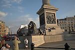 Base of Nelson's column, Trafalgar Square, London, England