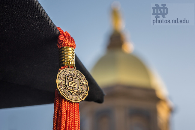 May 13, 2015; Graduation cap and tassel, orange represents Engineering (Photo by Matt Cashore/University of Notre Dame)