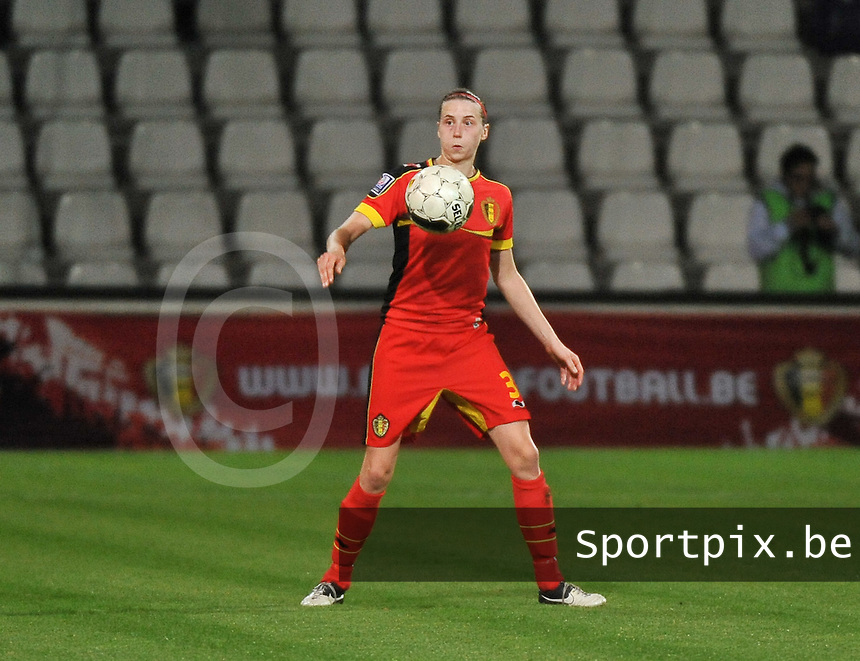 20131031 - ANTWERPEN , BELGIUM : Belgian Heleen Jaques pictured during the female soccer match between Belgium and Portugal , on the fourth matchday in group 5 of the UEFA qualifying round to the FIFA Women World Cup in Canada 2015 at Het Kiel stadium , Antwerp . Thursday 31st October 2013. PHOTO DAVID CATRY