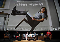 "NORTH HOLLYWOOD, CA - APRIL 19: (L-R) Moderator Debra Birnbaum and actresses Pamela Adlon, Mikey Madison, Olivia Edward, Hannah Alligood and Celia Imrie attend the For Your Consideration event for FX's ""Better Things"" at the Wolf Theatre at Saban Media Center on April 19, 2018 in North Hollywood, California. (Photo by Frank Micelotta/FX/PictureGroup)"