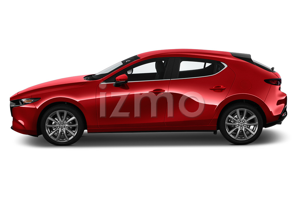 Car Driver side profile view of a 2019 Mazda Mazda-3 - 5 Door Hatchback Side View