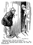 """Suspicious Caller. """"Is the guv'nor in?"""" Resourceful Maid (alone in the house). """"Ye-es. Er- He's in the drawing-room feeding his herd of bloodhounds."""""""