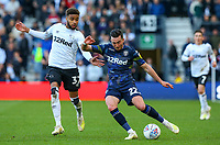 Leeds United's Jack Harrison crosses under pressure from Derby County's Jayden Bogle to assist Kemar Roofe's goal<br /> <br /> Photographer Alex Dodd/CameraSport<br /> <br /> The EFL Sky Bet Championship Play-off  First Leg - Derby County v Leeds United - Thursday 9th May 2019 - Pride Park - Derby<br /> <br /> World Copyright © 2019 CameraSport. All rights reserved. 43 Linden Ave. Countesthorpe. Leicester. England. LE8 5PG - Tel: +44 (0) 116 277 4147 - admin@camerasport.com - www.camerasport.com