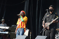 "Largo, MD - July 12, 2014: AJ Brown and Richie ""Bassie"" Daley (r), founding member of the Grammy nominated band Third World, perform at the 1st annual International Festival at the Largo Town Center in Largo, MD, July 12, 2014. The group is best known for its charting hits ""Now The We Found Love"" and ""Try Jah Love."" (Photo by Don Baxter/Media Images International)"