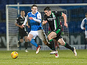 16th March 2018, McDiarmid Park, Perth, Scotland; Scottish Premier League football, St Johnstone versus Hibernian; Blair Alston of St Johnstone and John McGinn of Hibernian chase down ball