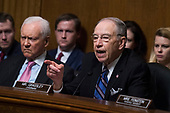 UNITED STATES - SEPTEMBER 27: Chairman Charles Grassley, R-Iowa, makes remarks during the testimony of Dr. Christine Blasey Ford during the Senate Judiciary Committee hearing on the nomination of Brett M. Kavanaugh to be an associate justice of the Supreme Court of the United States, focusing on allegations of sexual assault by Kavanaugh against Christine Blasey Ford in the early 1980s. Sen. Orrin Hatch, R-Utah, also appears. (Photo By Tom Williams/CQ Roll Call/POOL)