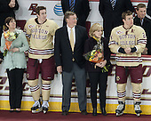 Shelagh Hayes, Kevin Hayes (BC - 12), Dave Arnold, Kirk Arnold, Bill Arnold (BC - 24), Doug Brown - The visiting University of Notre Dame Fighting Irish defeated the Boston College Eagles 2-1 in overtime on Saturday, March 1, 2014, at Kelley Rink in Conte Forum in Chestnut Hill, Massachusetts.