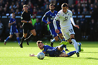 Bersant Celina of Swansea City vies for possession with Joe Ralls of Cardiff City during the Sky Bet Championship match between Swansea City and Cardiff City at the Liberty Stadium in Swansea, Wales, UK. Sunday 27 October 2019