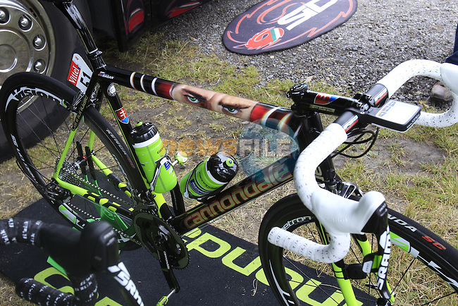 Peter Sagan's (SVK) Cannondale team bike lined up outside the team bus in York Racecourse before the start of Stage 2 of the 2014 Tour de France running 200km from York to Sheffield. 6th July 2014.<br /> Picture: Eoin Clarke www.newsfile.ie