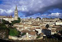 Saint Emilion, Aquitaine, Bordeaux Wine Region, France, Gironde, Europe, Eglise Monolithe rises above the medieval village of St. Emilion.